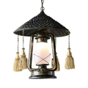 Lantern Suspended Light with Tassels Bamboo Shade 1 Light Pendant Lighting in Bronze, 19.5
