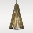 Slim Cone Pendant Lighting for Restaurant Rustic Bamboo Suspended Light with Adjustable Chain, 14