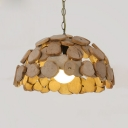 Wood Dome Shade Hanging Pendant Lamp Rustic One Bulb Suspension Light in Beige with Adjustable Chain
