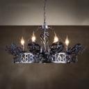 Industrial Round Chandelier Metal 6 Lights Ceiling Light for Living Room Restaurant