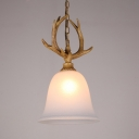 Single Light Pendant Light with White Bell Shape and Antlers Decoration Vintage Style Resin Ceiling Light