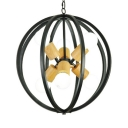 Antique Globe Chandelier Metal 6 Lights Black/White Chandelier Lighting for Dining Room