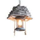Wood and Glass Ceiling Light Dining Room Single Light Rustic Style Hanging Light Fixture in White