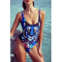 New Fashion Tiger Printed Womens Scoop Neck Low Back High Leg Blue One Piece Swimsuit Swimwear