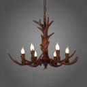 Candle Shape Dining Room Chandelier with Deer Decoration Resin 6/9 Lights Vintage Style Pendant Light