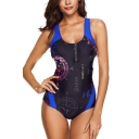 Womens New Fashion Letter Printed Scoop Neck Stretch Fit Black One Piece Swimsuit Swimwear
