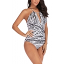 Women's Plus Size Zebra Striped Printed Halter Neck White One Piece Swimsuit Swimwear