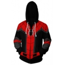 3D Cool Pattern Long Sleeve Red and Black Hoodie