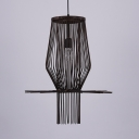 Antique Style LED Ceiling Light Single Light Bamboo Hanging Light Fixture in Black for Kitchen