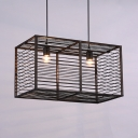 Industrial Black Chandelier Light with Rectangle Shade 2 Lights Rattan Pendant Lamp for Living Room