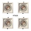 Square Light Fixture Living Room 12W Metal Flush Mount Recessed in White