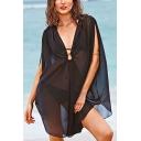 Women's New Arrival Unique Black Beach Bikini Sunscreen Cover Up Swimwear Dress