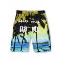 Summer Hawaii Tropical Coconut Palm Letter PARTY Mens Beach Swim Trunks