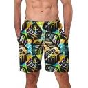 Mens Summer Unique Snowflake Leaf Print Elastic Waist Casual Beach Swim Shorts