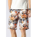 Guys Cool Street Fashion Letter Graffiti Drawstring Waist Yellow Beach Shorts