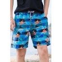 Guys Summer Blue Tropical Plants Print Drawstring Waist Quick Drying Swim Trunks with Liner