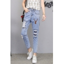 Summer Trendy Deer Embroidery Ripped Patchwork Light Blue Loose Fit Jeans for Women