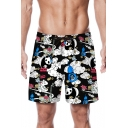 Lovely Cartoon Panda Pattern Men's Summer Black Beach Swim Trunks