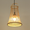 Antique Style Pendant Lighting Single Light Bamboo Bell Shape Beige Ceiling Fixture for Kitchen