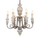 White Candle Shape Suspension Light 6 Lights Antique Style Metal and Wood Chandelier for Dining Room
