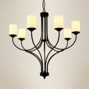 Black Cylinder Pendant Chandelier 7 Lights Antique Style Metal and Frosted Glass Suspension Light for Living Room