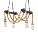 4 Lights Jute Rope Pendant Lighting with Open Bulb and Hanging Chain Rustic Chandelier Lighting