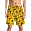 Fashion Allover Coconut Palm Print Yellow Beach Swim Trunks for Men