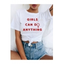 GIRLS CAN D ANYTHING Simple Cool Letter Print Casual White Tee