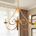 Elegant Candle Shape Chandelier Height Adjustable 3/6 Lights Metal Pendant Lighting in Gold for Indoor