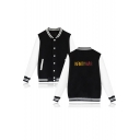 Infinity War Simple Letter Print Colorblock Button Down Unisex Varsity Baseball Jacket