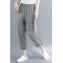 Women's Fashion Stripe Print Elastic Waist Rolled Cuff Casual Grey Carrot Pants