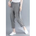 Women's Fashion Stripe Print Elastic Waist Rolled Cuff Casual Grey Carrot Pants