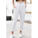 Fashion Simple Vertical Stripe Printed Ruffled High Rise Capri Tapered Pants for Women