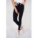 Hot Fashion Women's Bow Tied Waist Stripe Side Skinny Fit Sport Pants