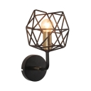 European Vintage Caged Wall Lamp Metal Single Light Sconce Wall Light for Dining Room Bar