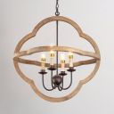 Restaurant Cafe Candle Chandelier Metal and Wood 4 Lights Pendant Lighting with Shade