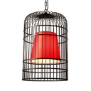 1 Light Birdcage Hanging Light Industrial Metal Chandelier with Adjustable Chain in Black for Restaurant