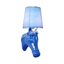 Blue Tapered Shade Wall Lamp with House Decoration 1 Light Classic Fabric and Resin Sconce Light for Hotel Shop