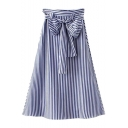 New Stylish Vertical Stripe Printed Bow-Tied Waist Midi A-Line Skirt