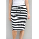 Womens Casual Loose Bow-Tied Front Elastic Waist Stripe Pattern Midi Shift Black Skirt