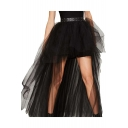 Womens Summer New Trendy High Low Swallowtail Hem Black Gauze Skirt
