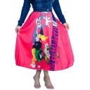 Rose Red Vintage Unique Cartoon Character Printed Midi Pleated Skirt