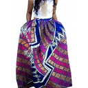Retro Hippie Ethnic Style Tribal Printed Vintage Maxi Swing Skirt in Purple