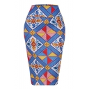 Vintage Ethnic Style Blue Geometric Printed Midi Pencil Skirt