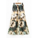 Unique Green Tie Dye Printed High Waisted Midi A-Line Skirt
