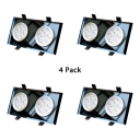 (4 Pack)2 Optional Modes Crystal Ceiling Light Recessed Dining Room Bedroom 2 Heads Rectangle LED Recessed Light in White/Warm