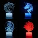Unicorn Pattern Color Changing 3D Night Light Touch Sensor Remote Control Unicorn LED Illusion Light for Child