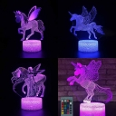 7 Color Changing 3D Illusion Lamp Gift Bedroom USB Port Battery Charger Touch Sensor Unicorn Night Light with Remote Controller
