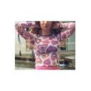 Girls Summer Cute Allover Heart Printed Pink Long Sleeve Cropped Mesh T-Shirt