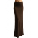 Women's New Stylish Simple Solid Color Maxi Bodycon Fishtail Skirt